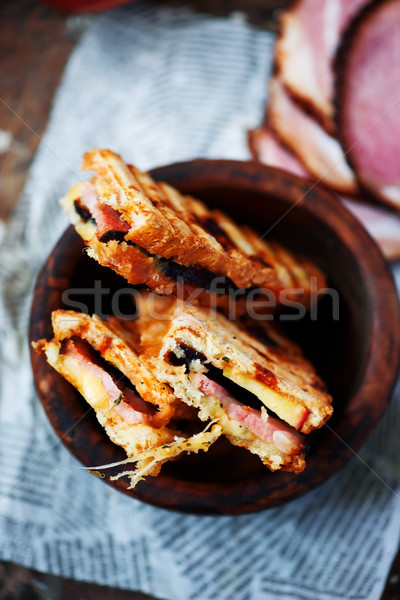 Ham and Cheese Baked Eggs in Toast. for a breakfast Stock photo © zoryanchik