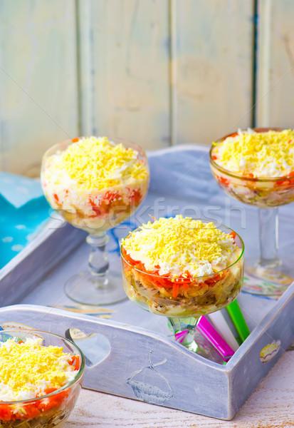 traditional Russian salad Mimosa Stock photo © zoryanchik