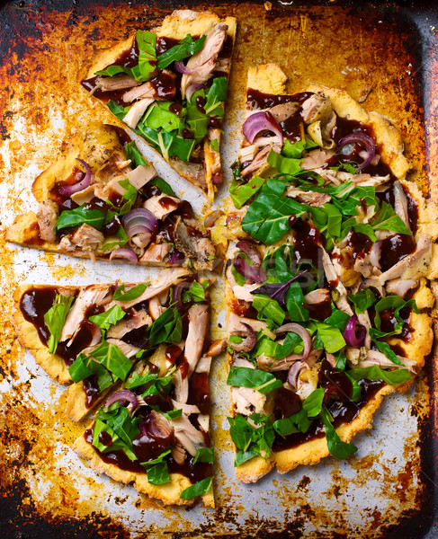 Aardappel kip glutenvrij pizza top Stockfoto © zoryanchik