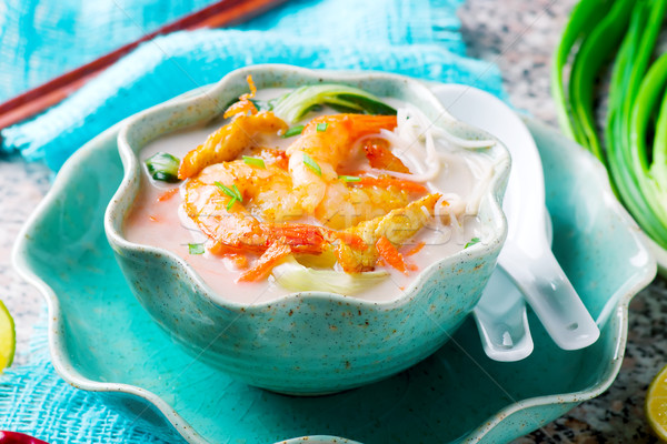 Coconut flavored Chicken and Shrimp Soup. Stock photo © zoryanchik