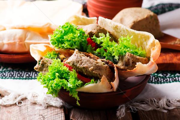 Pita Bread with Veggie Pate.selective focus Stock photo © zoryanchik