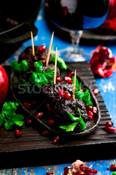 moroccan meatballs with pomegranate glaze.style rustic Stock photo © zoryanchik