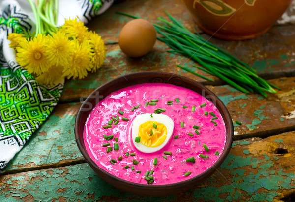 The Lithuanian cold  beetroot soup  Stock photo © zoryanchik