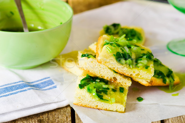 house focaccia with green onions sauce. Stock photo © zoryanchik