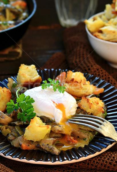 mushroom ragout with poshed  egg   Stock photo © zoryanchik