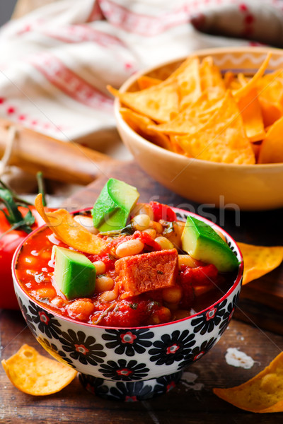 Stock photo: Quick White-Bean Stew. Mexican cuisine.
