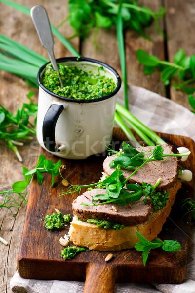 mint pesto and roast beef sandvwch  Stock photo © zoryanchik
