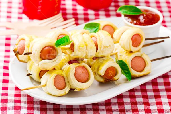 sausage rolls on skewers  Stock photo © zoryanchik