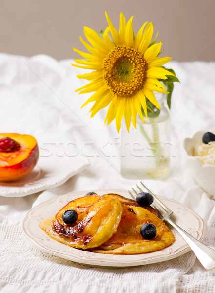 Caramelized Peach Pancakes Stock photo © zoryanchik
