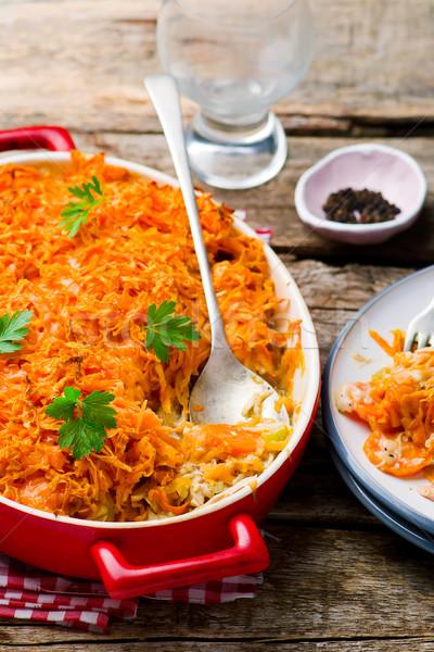 Kip zoete aardappel bakken vlees witte maaltijd Stockfoto © zoryanchik