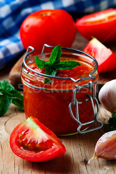 Maison pizza sauce verre jar style Photo stock © zoryanchik