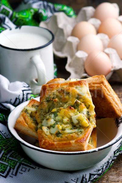 Stock fotó: Sütemény · piték · tojások · pázsit · stílus · rusztikus