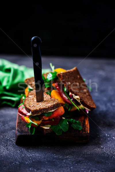 Melocotón mayonesa atención selectiva pan queso Foto stock © zoryanchik