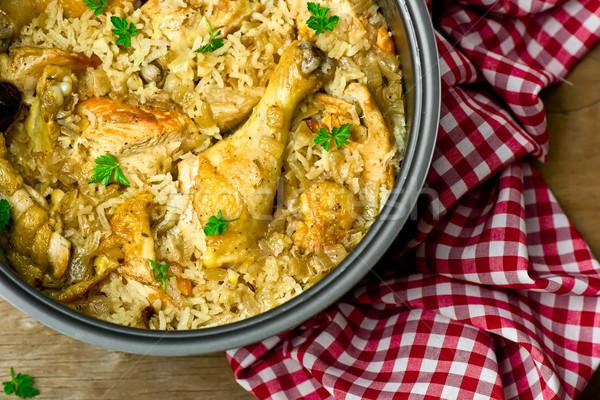 Stewed chicken with rice  Stock photo © zoryanchik