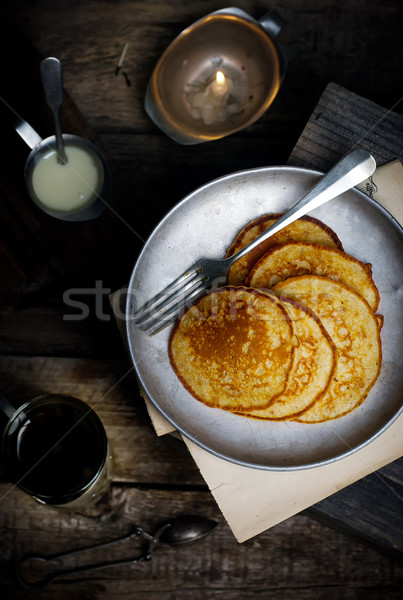 pancakes with blueberry Stock photo © zoryanchik