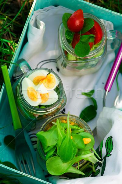 Summer maison jar salad. outdoor light.  Stock photo © zoryanchik