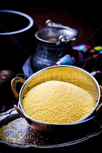 Cobre potable tazón étnicas estilo atención selectiva Foto stock © zoryanchik