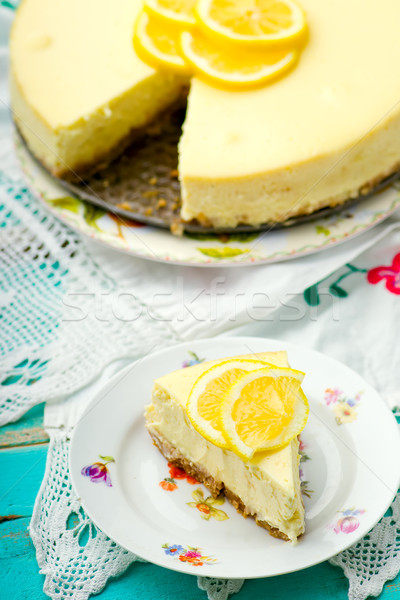 Citron cheesecake tranche mise au point sélective fromages dessert Photo stock © zoryanchik