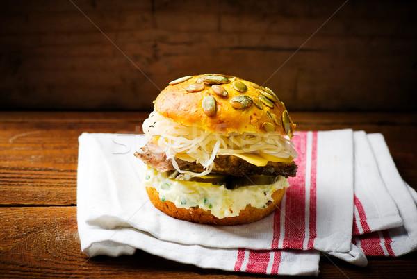 Сток-фото: Бутерброды · свинина · сыра · соус · стиль