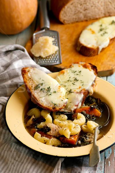 italian pumpkin kale chicken noodle soup fontina toast Stock photo © zoryanchik