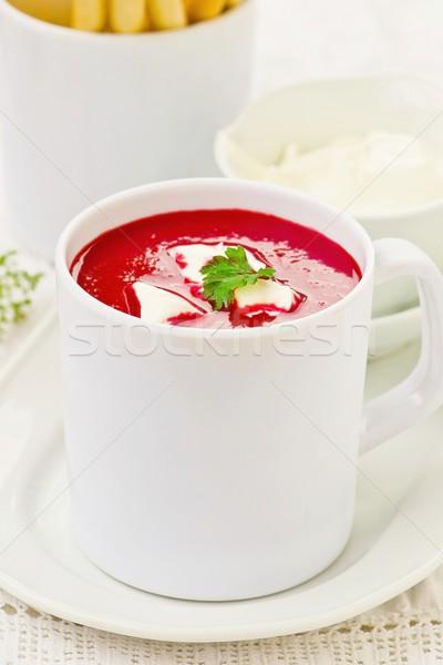 ビートの根 トマト クリーミー ダイエット スープ 白 ストックフォト © zoryanchik
