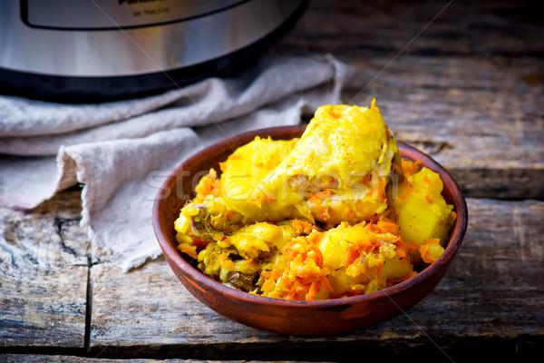 Stewed chicken with potato Stock photo © zoryanchik