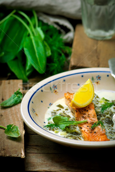salmon with sauce from a sorrel.  Stock photo © zoryanchik