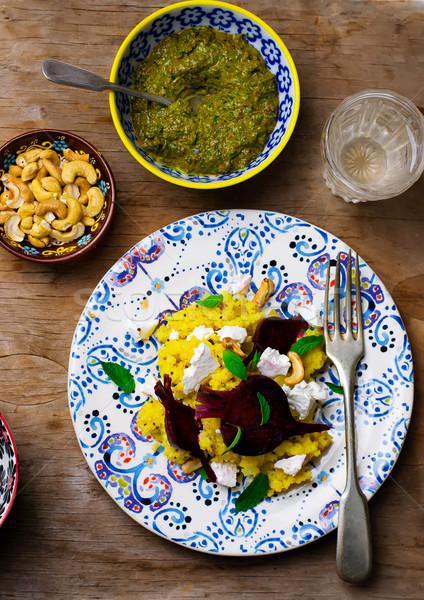 veggy millet pilaf with beet and feta Stock photo © zoryanchik