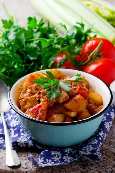 Foto stock: Vegan · irlandês · ensopado · legumes · tofu · estilo