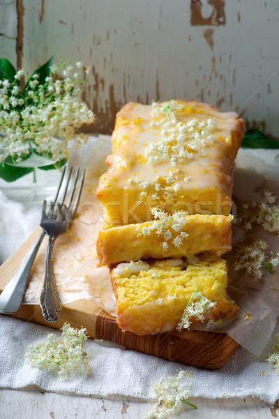 Cytryny ciasto słodkie kwiat przekąska Zdjęcia stock © zoryanchik