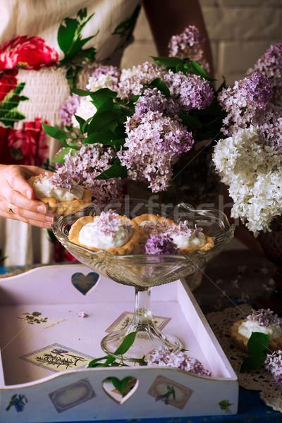 сирень кремом Vintage продовольствие торт лет Сток-фото © zoryanchik