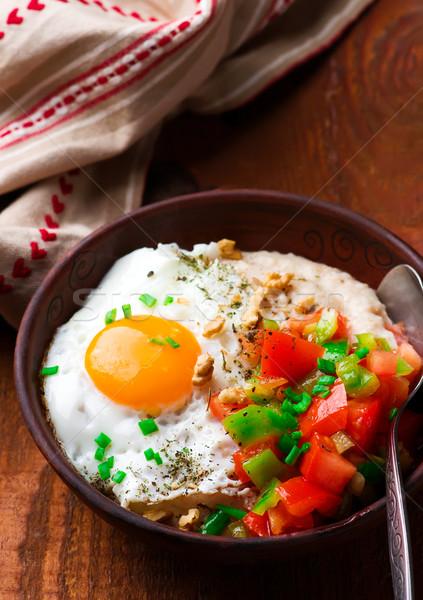 Salado cheddar huevo frito frito verde Foto stock © zoryanchik