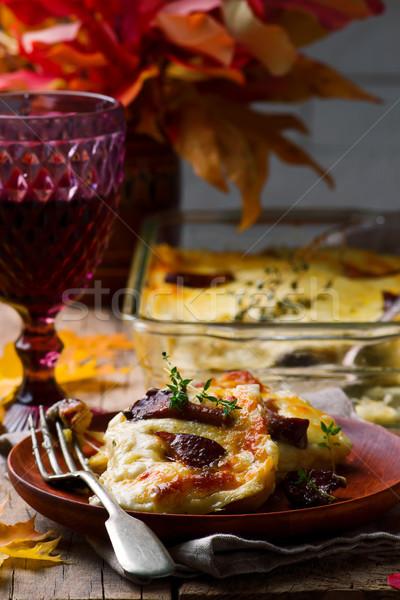 キノコ 素朴な 選択フォーカス チーズ パスタ ストックフォト © zoryanchik