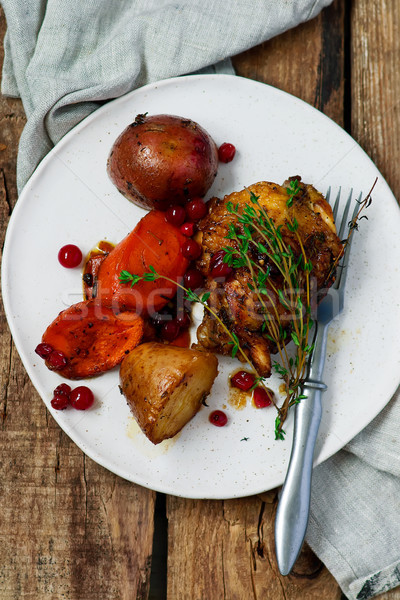 skillet cranberry roasted chicken and potatoes Stock photo © zoryanchik