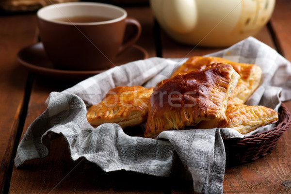 salami and cheese puff pastry.selective focus Stock photo © zoryanchik
