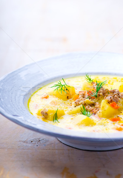 'cheeseburger' soup  Stock photo © zoryanchik
