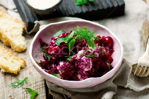 Beet salad with tahina sauce Stock photo © zoryanchik
