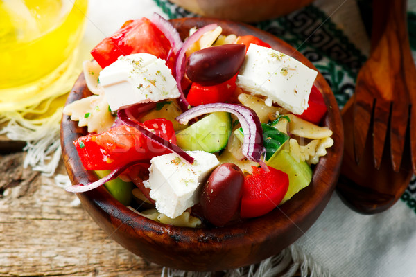 Greek pasta salad.style rustic.selective focus Stock photo © zoryanchik
