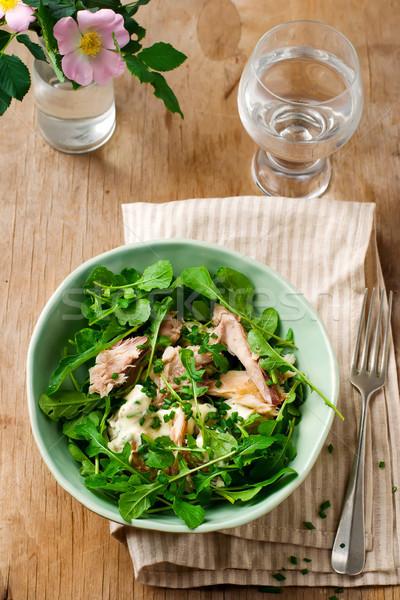 mackerel ,new potato and arugula salad. Stock photo © zoryanchik
