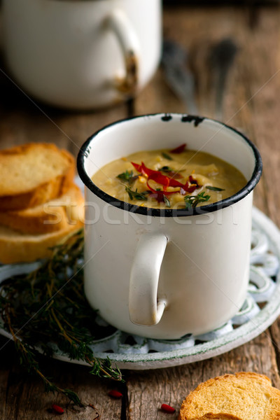 spiced red lentil and root vegetable soup vegan Stock photo © zoryanchik