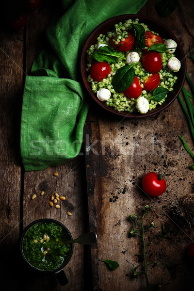 Israeli couscous Salad  with pesto Stock photo © zoryanchik