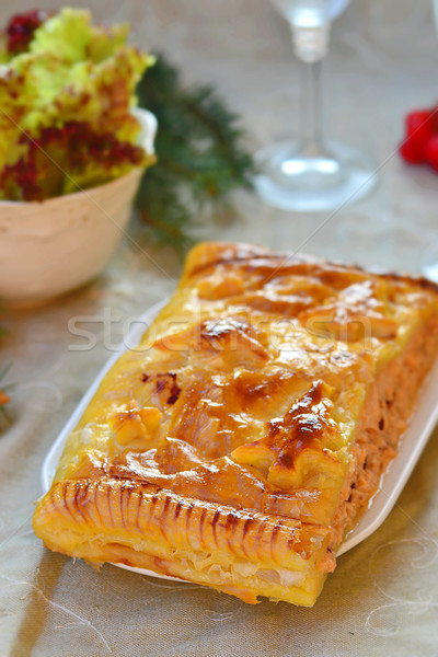 fillet of a salmon in puff pastry Stock photo © zoryanchik