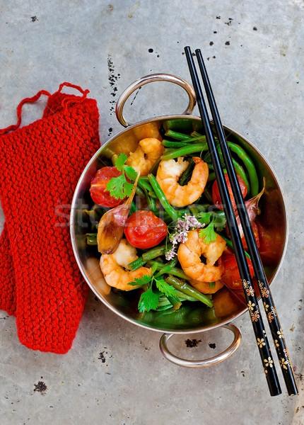 Keverés háttér vacsora piros kínai edény Stock fotó © zoryanchik