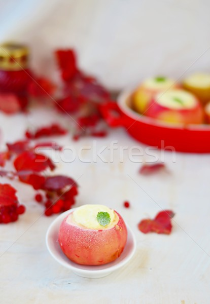 Pommes fromage cottage automne alimentaire fruits Photo stock © zoryanchik