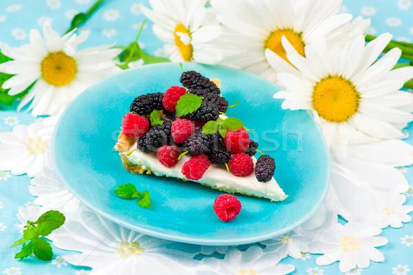 Fetta crostata fresche frutti di bosco stile vintage Foto d'archivio © zoryanchik