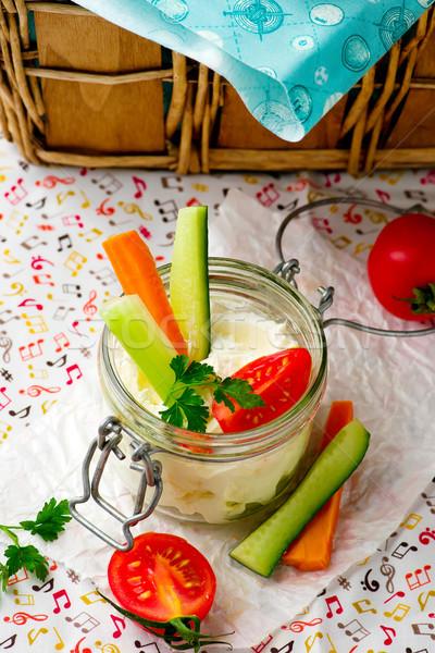 Sajt mártás friss zöldségek piknik szelektív fókusz étel Stock fotó © zoryanchik
