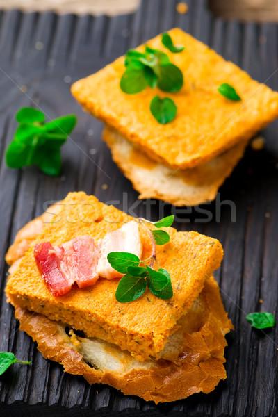 Pumpkin paste with bacon on rye bread Stock photo © zoryanchik