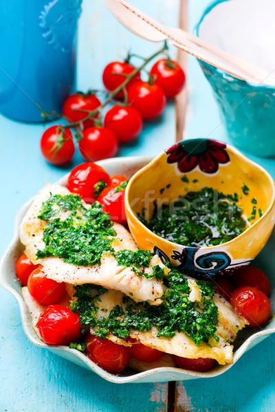 Pigro filetto pomodoro alimentare pesce verde Foto d'archivio © zoryanchik