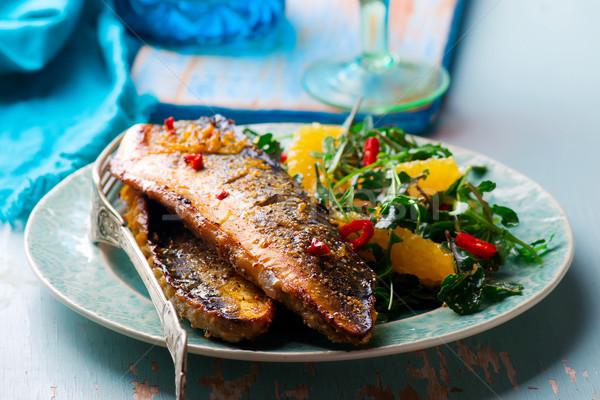 Gegrild makreel oranje rustiek voedsel vis Stockfoto © zoryanchik