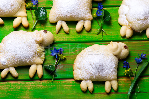 Easter sheeps buns..traditional easter pastries.  Stock photo © zoryanchik